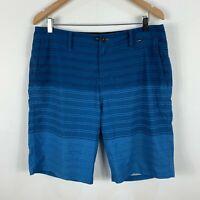 Hurley Mens Board Shorts Size 36 Blue Striped Swim Shorts
