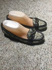 Coach Eloise Loafers Brown Jacquard Fabric Patent Leather Accent Women Size 8