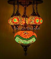 Handmade Turkish Mosaic Lamp - 6 Globe Celestial Citron Sparkle Chandelier