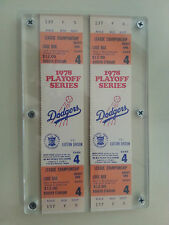 1978 Dodger Playoffs Two (2) Full Tickets EX/NM Dodgers advance to World Series