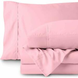 Pink Solid Attached Waterbed Sheet 1000 TC 100% Cotton With POLE Attachment