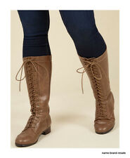 NEW Brown Lace Up Tall Combat Boots WOMENS US Size 11 Knee High Side Zip NIB