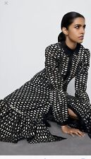 *Sold Out!* ZARA Midi Shirt Dress Gold Pattern Long Sleeves L (12/14) *NEW*