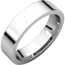 5mm Solid 14K White Gold Plain Flat Design Comfort Fit Wedding Band Ring Size 7