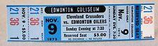 WHA 1975 CLEVELAND CRUSADERS at EDMONTON OILERS unused MINT hockey ticket