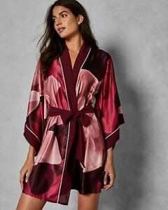 Ladies Ted Baker pink rose dressing gown size 8 10 satin