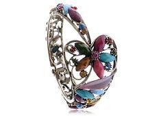 Lady Special Multi-Color Enamel Crystal Rhinestone Flower Bangle Bracelet Cuff