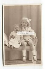 Hazel & Adrienne Gower - baby & young girl - old postcard-size photograph