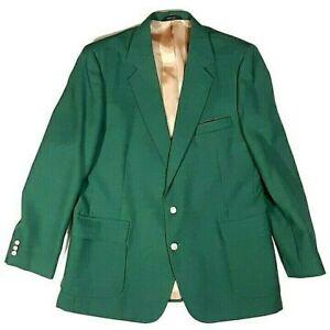 Masters Green 44R Haggar Imperial Sport Coat 2 Gold Button Blazer Wool USA Vtg