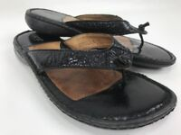 Born Womens Black Patent Leather Flip Flop Sandals Comfrot Shoes Size 7 W4373