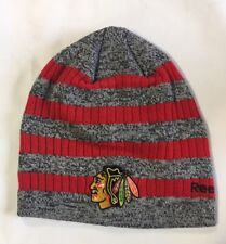 Chicago Blackhawks Knit Beanie Toque Winter Hat Cap NHL New Primary Color Stripe