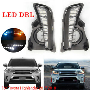 LED Daytime Running Lamp Fog Light For Toyota Highlander 17-19 DRL W/Turn Signal