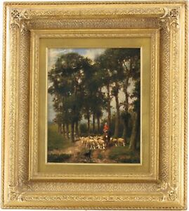 Driving Home the Flock Antique Oil Painting Edouard Woutermaertens (1819-1897)