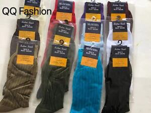 2 Pair Men's Silky Thick & Thin Dress Socks ONE SIZE FIT 10-13 SHOES 7-12 S01