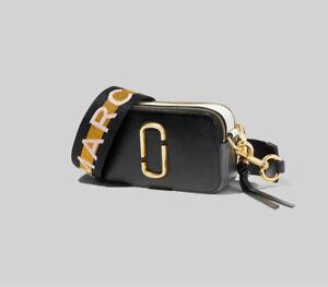 Marc Jacobs Logo Strap Snapshot Small Camera Bag Crossbody Bag New Black Multi