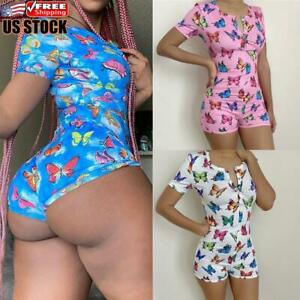 Women Sexy Print V Neck Bodycon Jumpsuit Sleepwear Pajama Short Romper Bodysuit