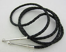 High Quality Braided Black Leather Bolo Tie Cord & Beaded Sterling Silver Tips