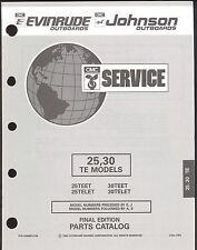 1993 OMC /  EVINRUDE JOHNSON 25 /30  TE OUTBOARD MODELS PARTS MANUAL / 435868