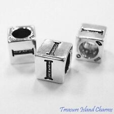 LETTER I 925 Solid Sterling Silver ALPHABET 7mm BLOCK BEAD 5mm Hole Diameter