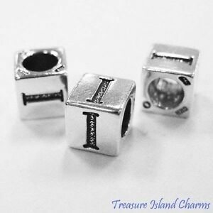 Letter I 925 Solid Sterling Silver Alphabet 7mm Block Bead 5mm Hole Diameter