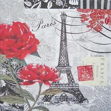 EIFFEL TOWER BLACK AND WHITE RED ROSE SET OF 4 RUBBER BACKED COASTERS/FABRIC TOP