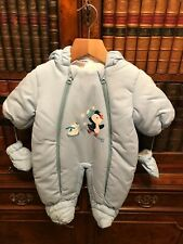 Baby Boys' Pale Blue Padded Snowsuit - Age 0-2 Months - New