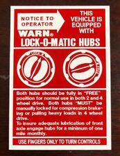 WARN  Lock-O-Matic Hubs Decal / Sticker**Jeep Willys**