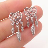 Sterling Silver Dream Catcher Love Heart Angel Wing Feather Drop Stud Earrings