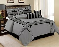 7 Piece MARMA Ruffle & Patchwork Comforter Sets Grey NavyBlue Queen King CalKing