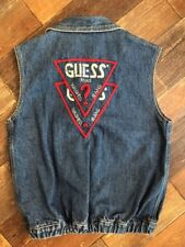 Vintage 80s VTG Guess for Georges Marciano Small Denim Blue Jean Vest SPELL OUT