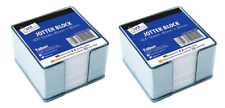 2 x 400 LOOSE SHEETS MEMO BLOCK PAPERS NOTE OFFICE JOTTER IN PLASTIC CUBE HOLDER