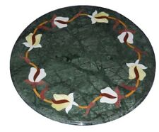 "12"" Green Marble Corner Side Table Top Marquetry Multi Stone Inlay Work"