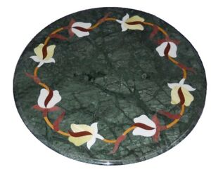 """12"""" Green Marble Corner Side Table Top Marquetry  Inlay Work"""