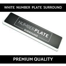 1 x Premium White Stainless Steel Number Plate Surround Holder for Peugeot