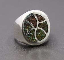 Sterling Silver Turquoise & Coral Chip Ring Size 7 / 13.1g
