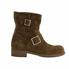 52333 auth JIMMY CHOO olive green suede leather Biker Boots Shoes 39