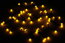 50 Indoor/Dry Outdoor Amber LED Globe Ball String Lights, 17FT Black Cord