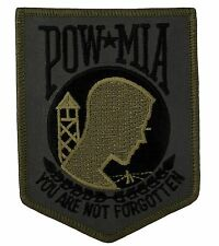 """POW - MIA Shield Patch Subdued OD Colors (295) 3"""" x 4"""" Embroidered Patch 10459"""