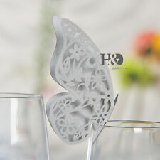 60pcs Silver Butterfly Place Card for Wedding Birthday Party Glass Table Setting