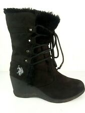 US Polo Assn Womens Karina Black Suede Wedge Boots Size 7B