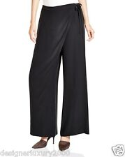 NEW EILEEN FISHER BLACK SILK GEORGETTE CREPE- SARONG-WIDE LEG  PANT XL $288
