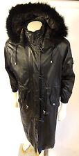 G-III Leather Fox Trim Hood Black Overcoat/Trenchcoat Medium Womens Jacket