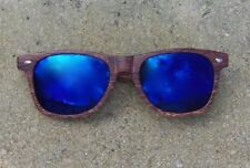 Lot of 5 Brown Wood Sunglasses w/ 100% UV Blue Lenses - ODIN