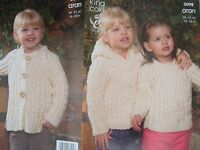 King Cole 3098 Baby/Childs Aran Jackets & Sweater Knitting Pattern Sizes 18-24""