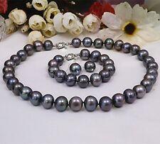 9-10mm Genuine Natural Black Freshwater Pearl Necklace Bracelet Earring Set AAA+