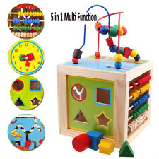 5-in-1 Wooden Multi-Activity Cube Kids Educational Toys Learning Games Baby Gift