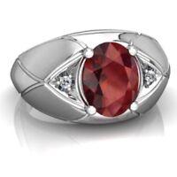 14K White Gold Natural Ruby & Diamond Gem Stone Men's Ring Jewelry