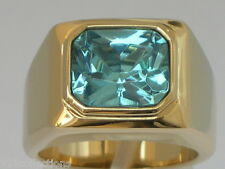 11 X 9 mm March Aqua Marine Birthstone Men's Solitaire Jewelry Ring Size 11