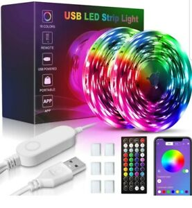 USB 5050 LED Strip Lights 32.8ft, 16 Million Colors Changing, Built-in Mic Music