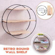 Home Bedroom Vintage Wall Retro Industrial Round Metal Wood Shelf Rack Storage